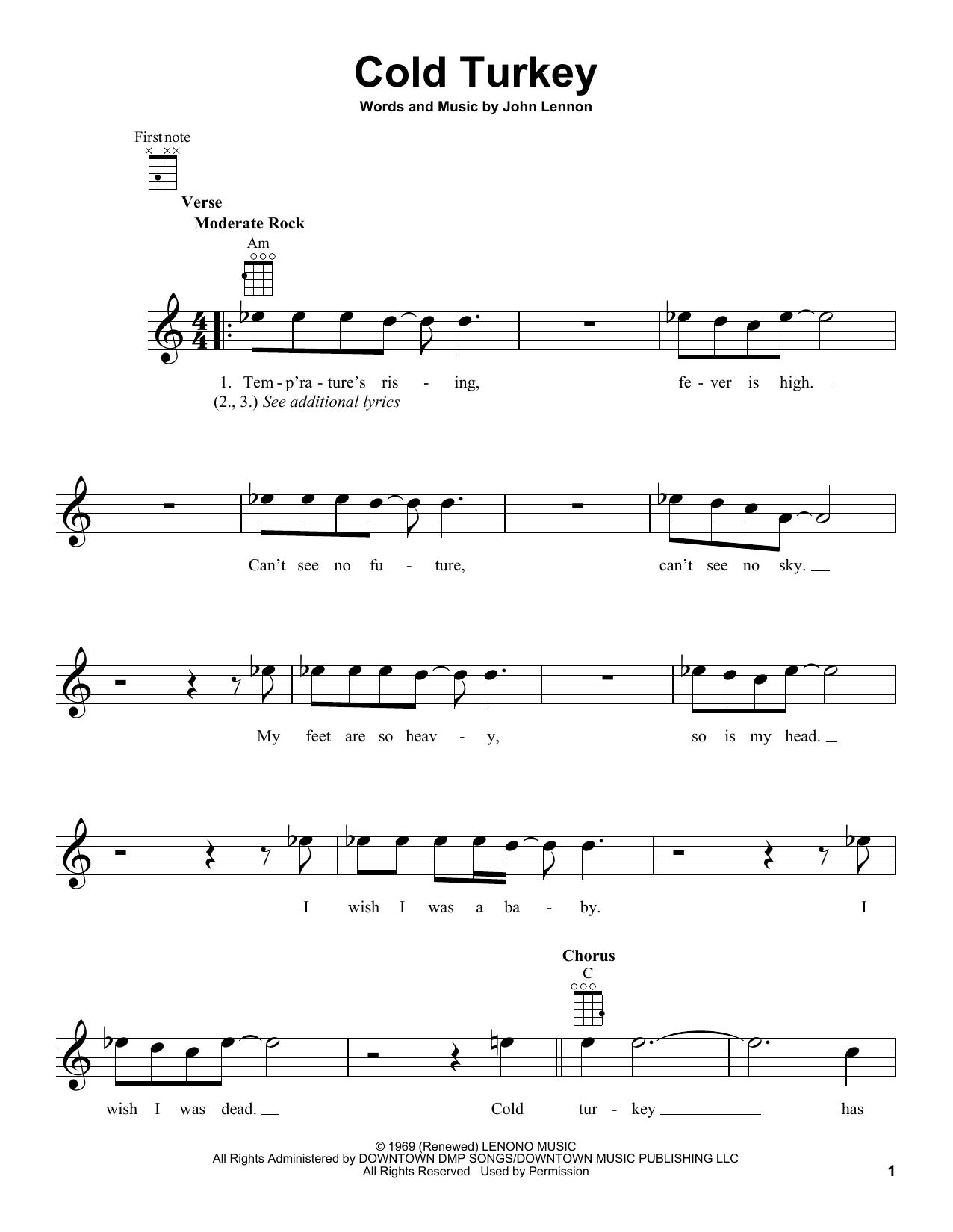 Tablature guitare Cold Turkey de John Lennon - Ukulele