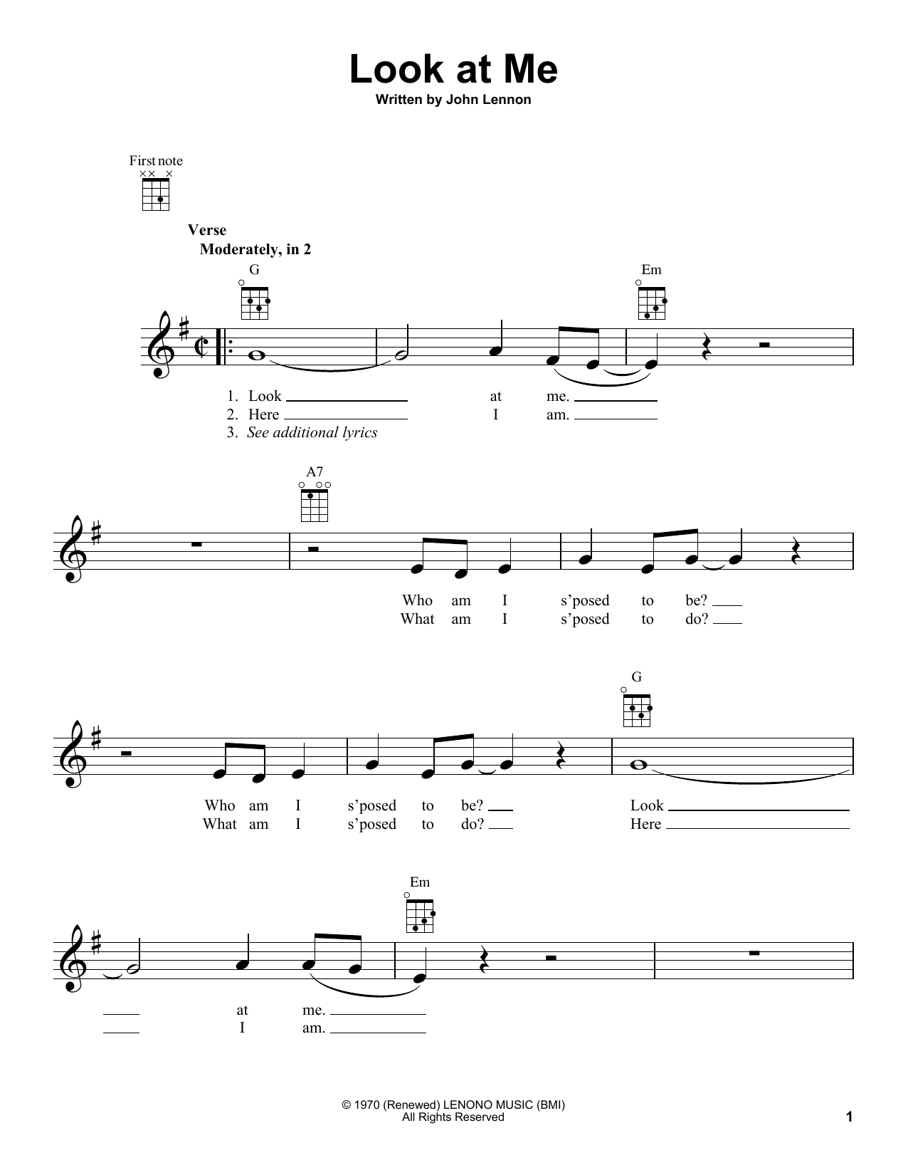 Tablature guitare Look At Me de John Lennon - Ukulele