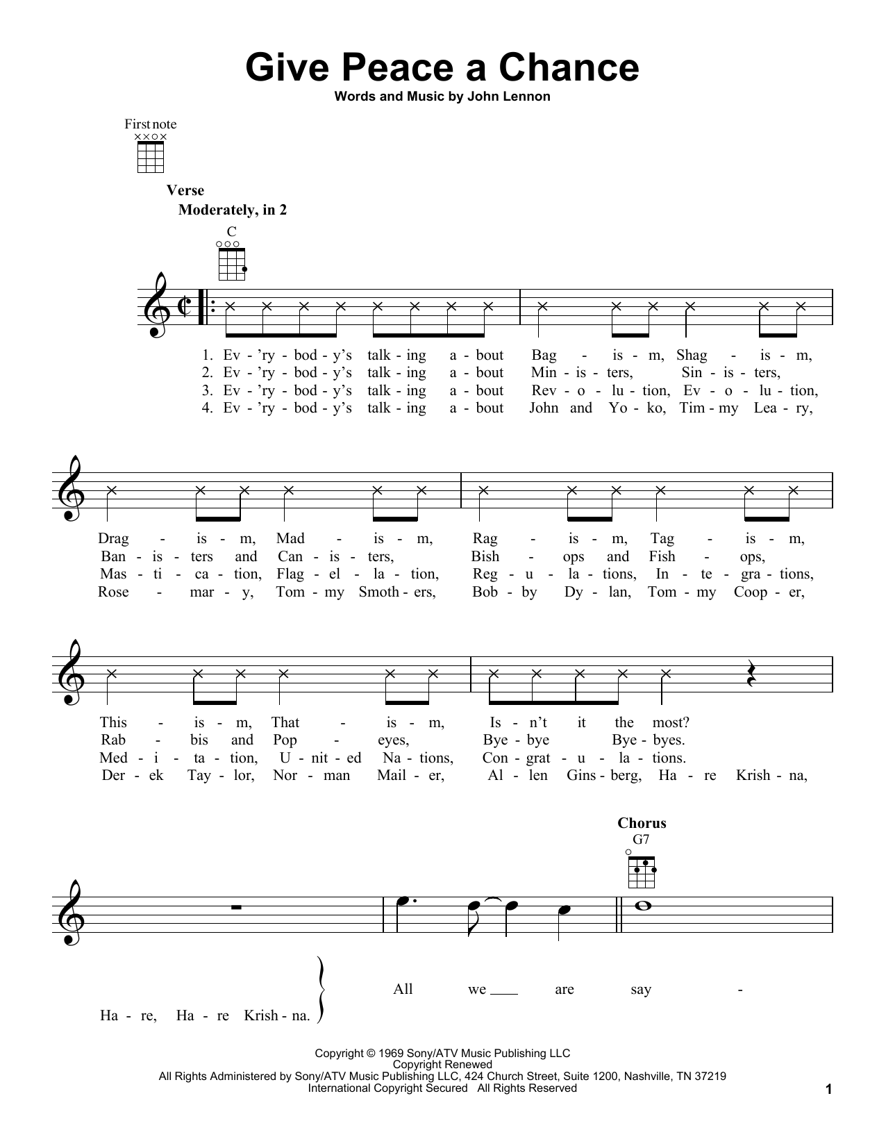 Tablature guitare Give Peace A Chance de John Lennon - Ukulele