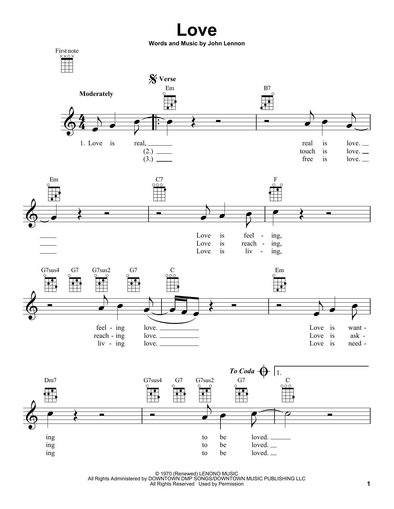 Tablature guitare Love de John Lennon - Ukulele