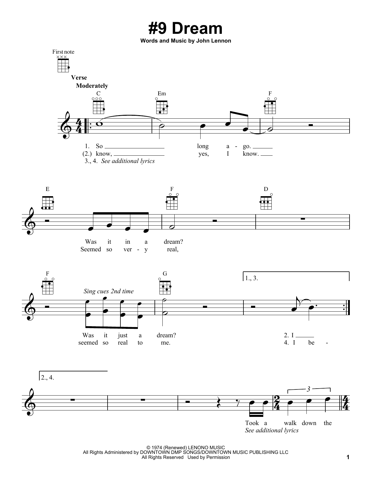 Tablature guitare #9 Dream de John Lennon - Ukulele