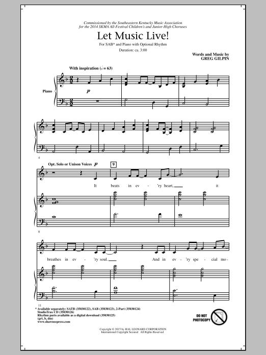 Partition chorale Let Music Live de Greg Gilpin - SAB
