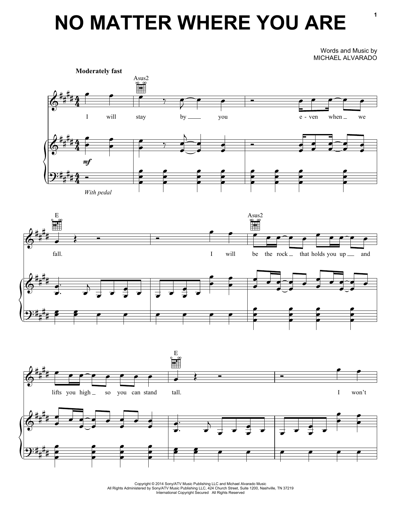 Partition piano No Matter Where You Are de Us The Duo - Piano Voix Guitare (Mélodie Main Droite)