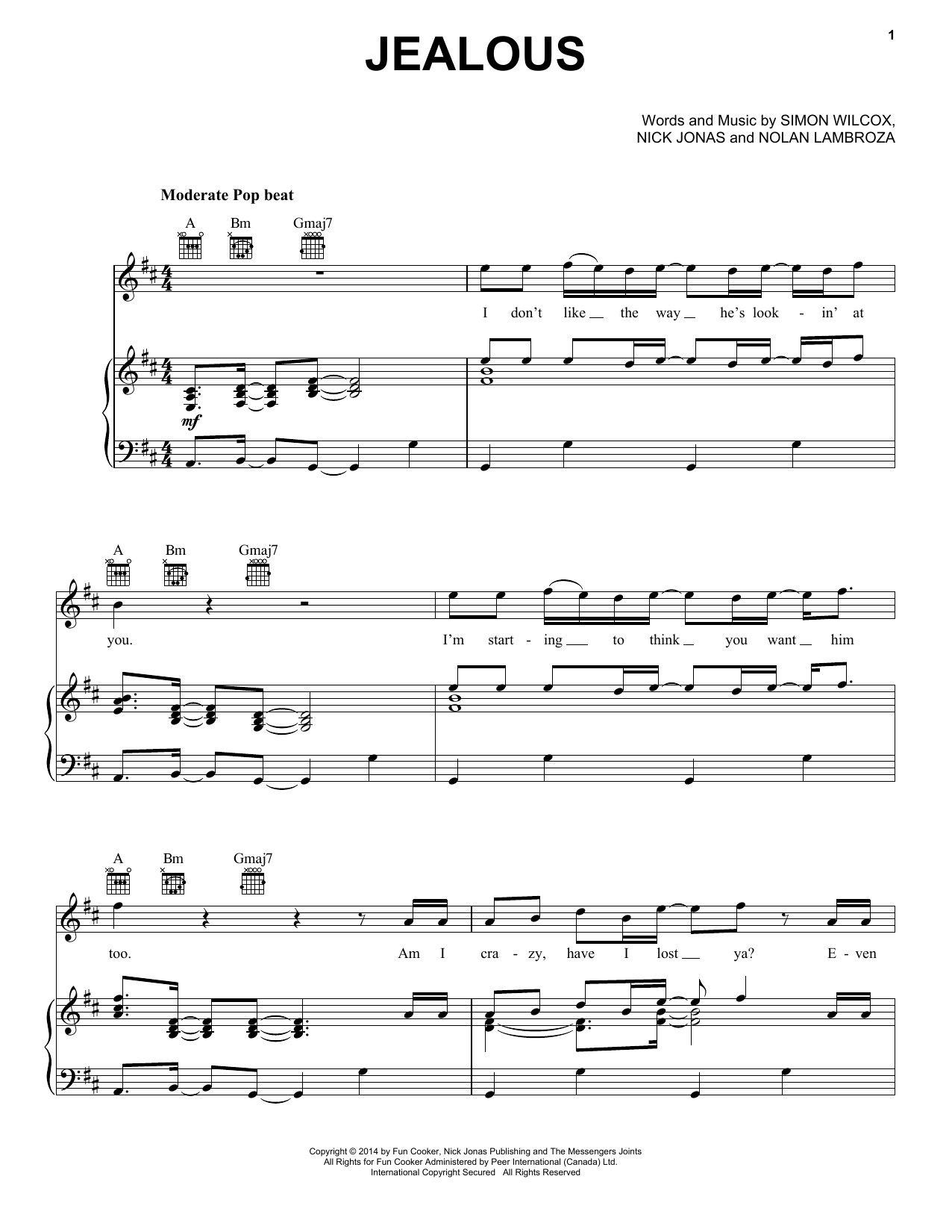 Partition piano Jealous de Nick Jonas - Piano Voix Guitare (Mélodie Main Droite)