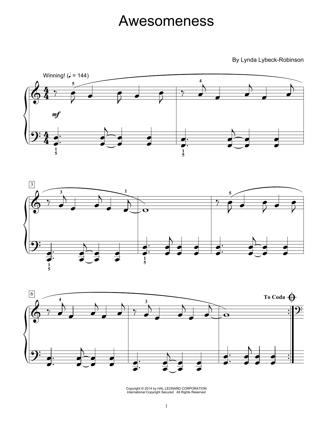 Partition piano Awesomeness de Lynda Lybeck-Robinson - Piano Facile