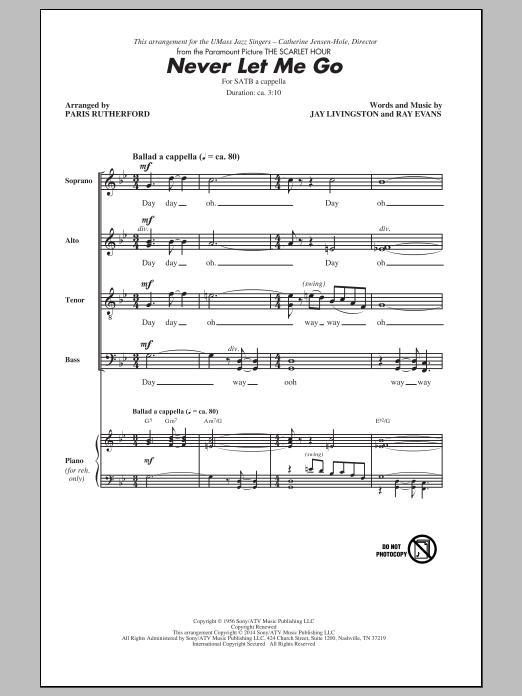 Partition chorale Never Let Me Go (arr. Paris Rutherford) de Dinah Washington - SATB