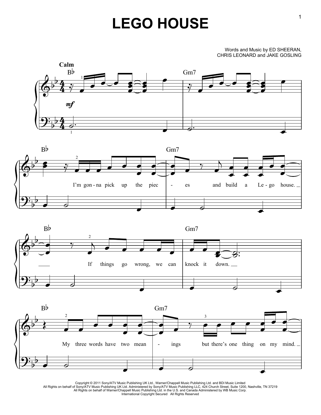 Sheet music digital files to print licensed jake gosling digital lego house hexwebz Images