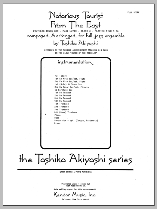 Notorious Tourist From The East (COMPLETE) sheet music for jazz band by Toshiko Akiyoshi