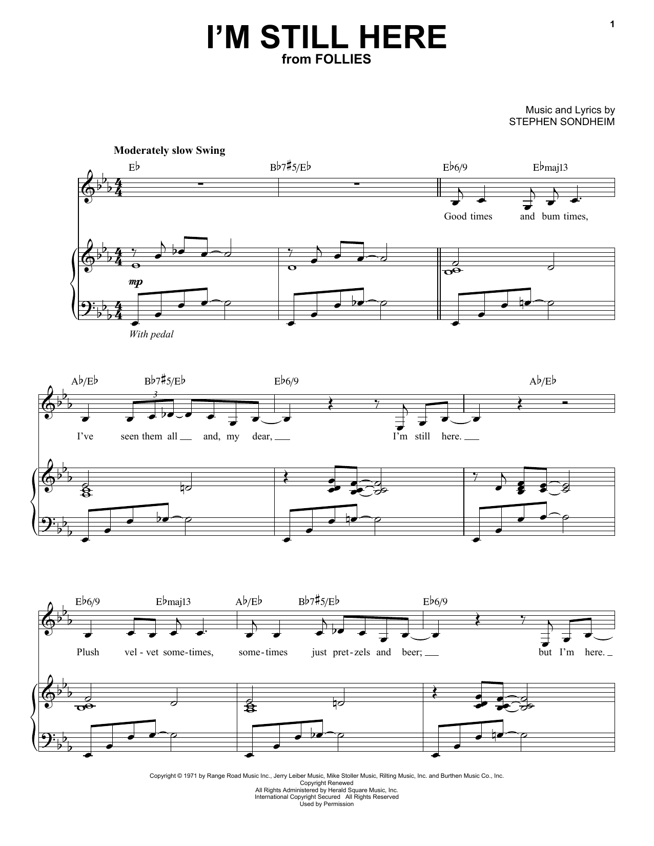 Partition piano I'm Still Here de Stephen Sondheim - Piano Voix