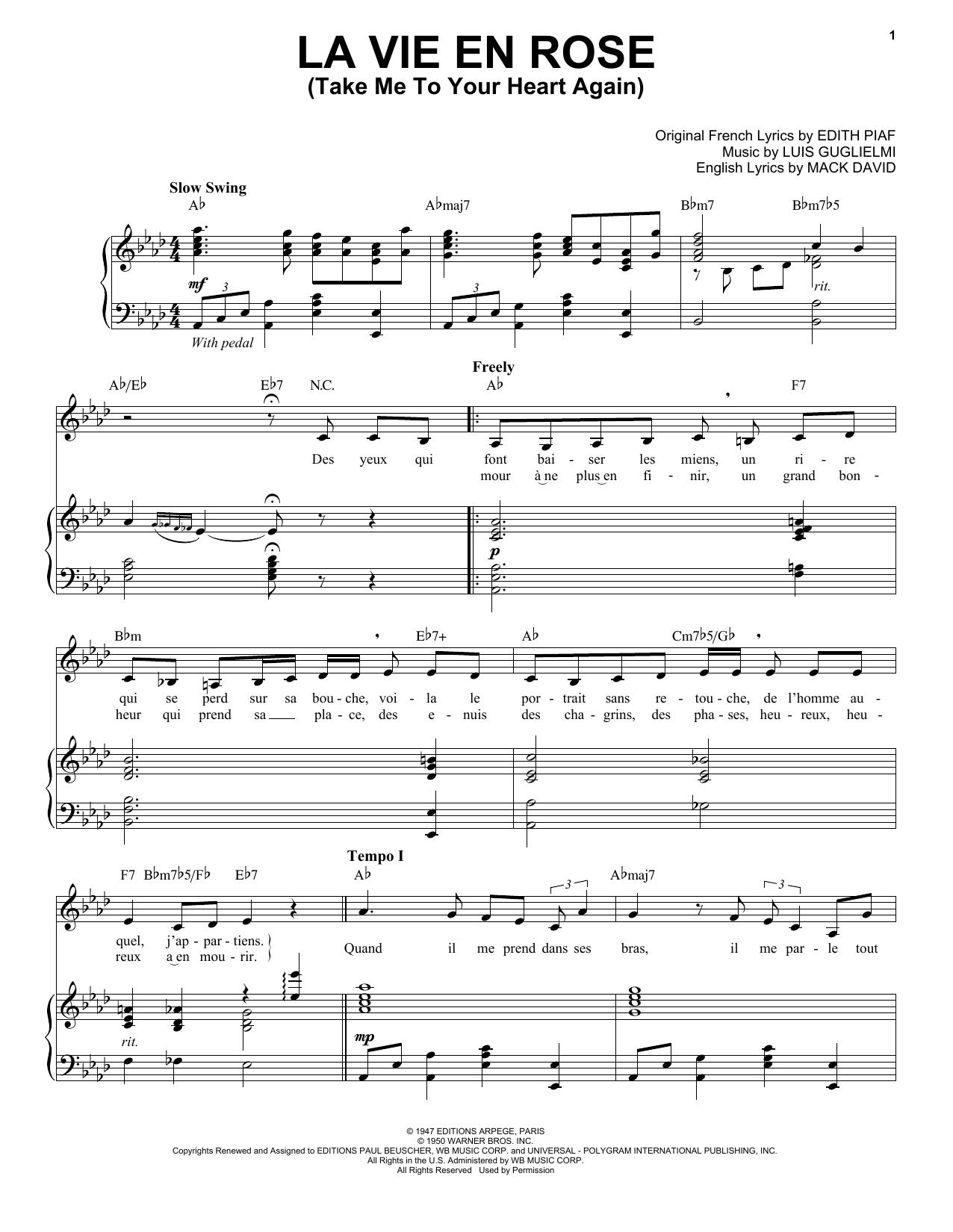 Partition piano La Vie En Rose (Take Me To Your Heart Again) de Edith Piaf - Piano Voix