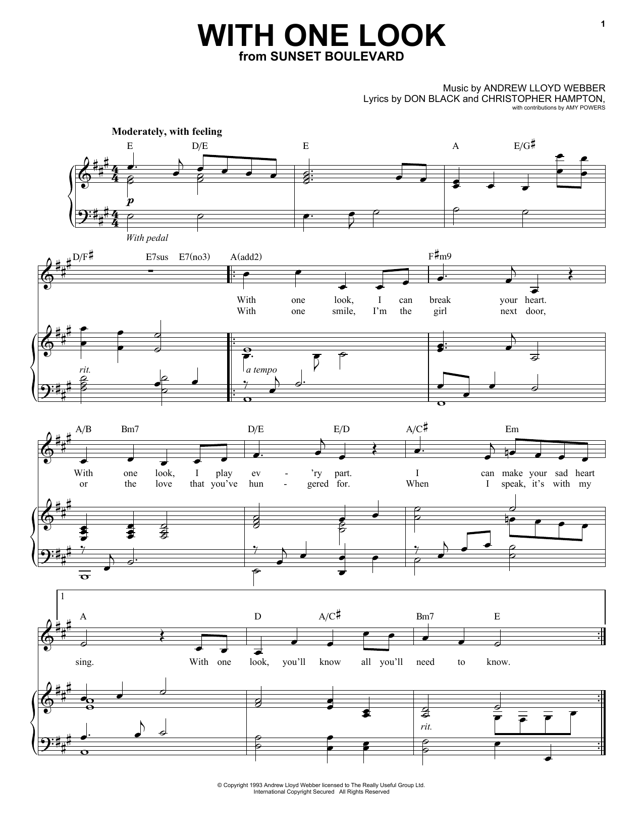 Partition piano With One Look (from Sunset Boulevard) de Andrew Lloyd Webber - Piano Voix