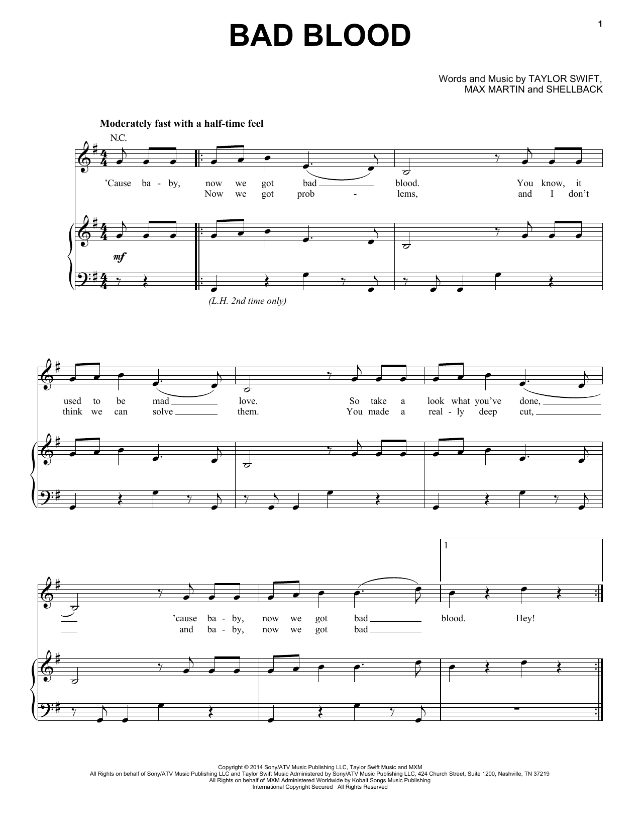 Partition piano Bad Blood de Taylor Swift - Piano Voix Guitare (Mélodie Main Droite)