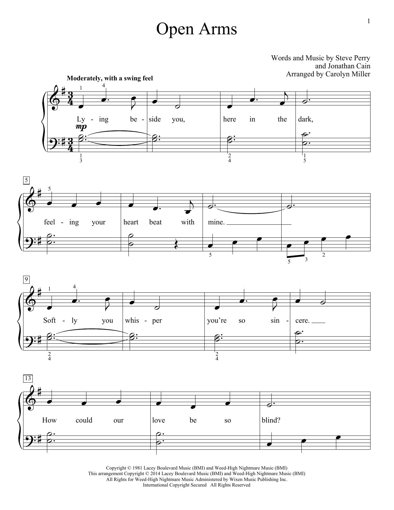 Partition piano Open Arms de Journey - Piano Facile