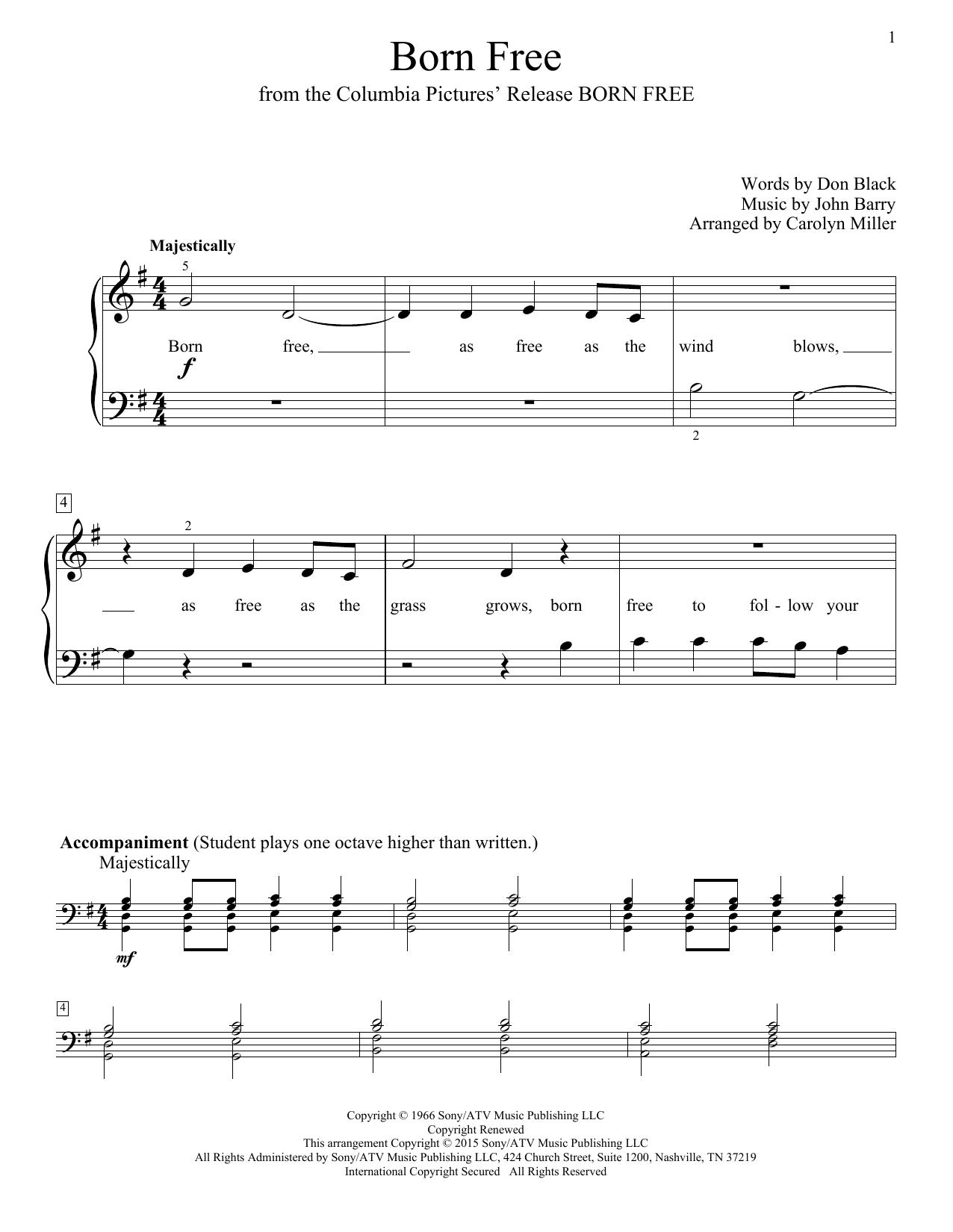 Partition piano Born Free de Roger Williams - Piano Facile