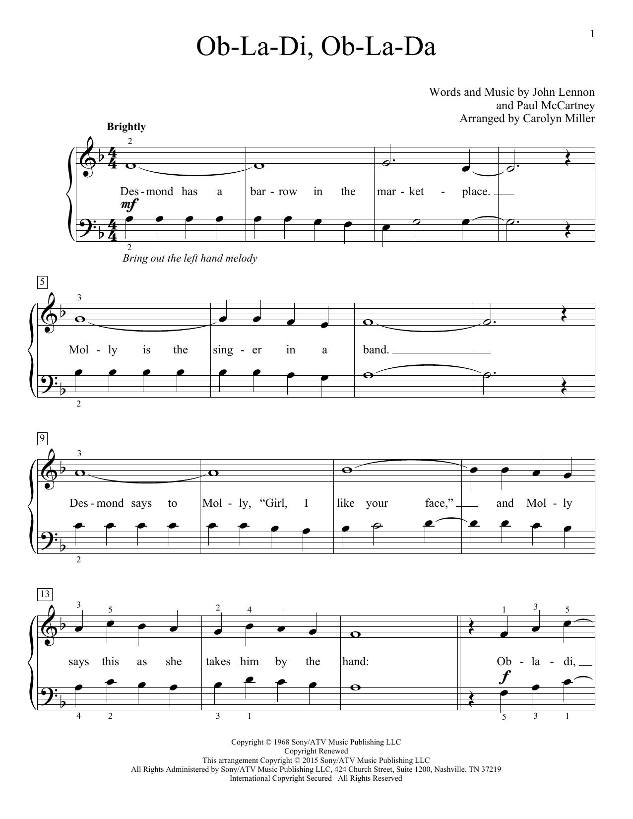 Partition piano Ob-La-Di, Ob-La-Da de The Beatles - Piano Facile