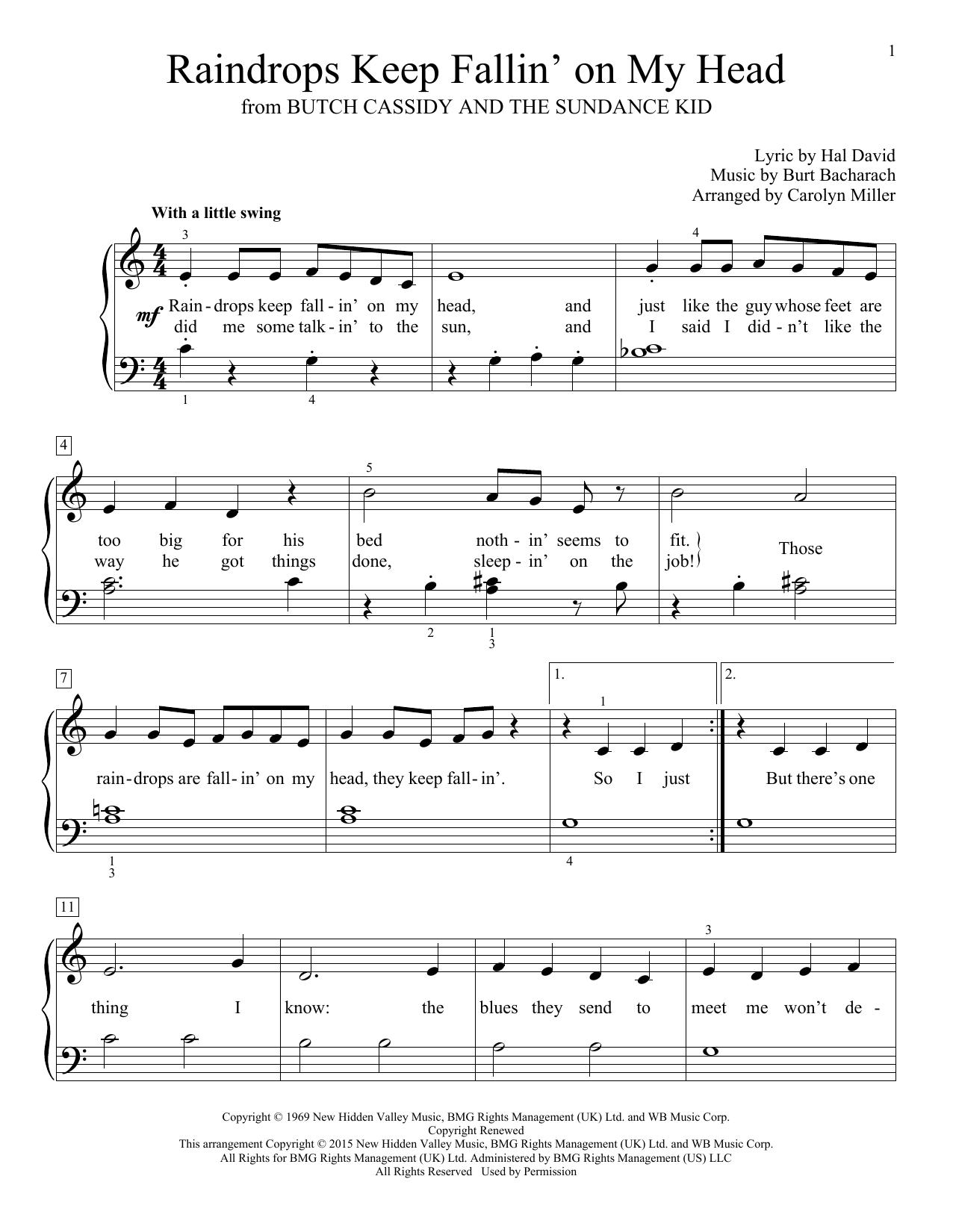 Partition piano Raindrops Keep Fallin' On My Head de Burt Bacharach - Piano Facile