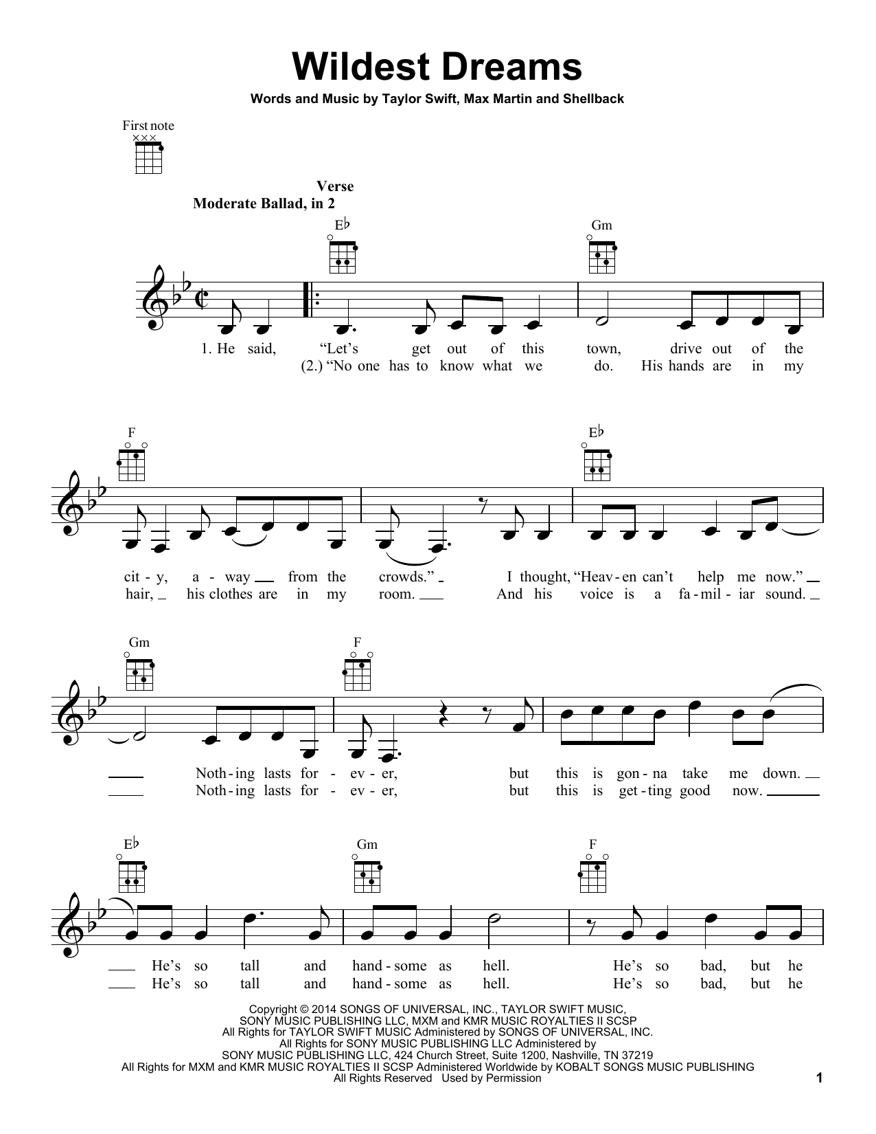 Wildest Dreams sheet music by Taylor Swift (Ukulele u2013 157054)