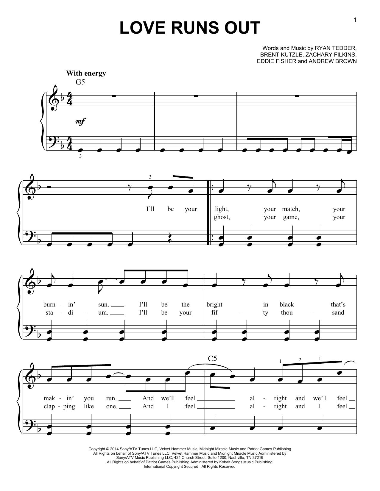 Partition piano Love Runs Out de OneRepublic - Piano Facile