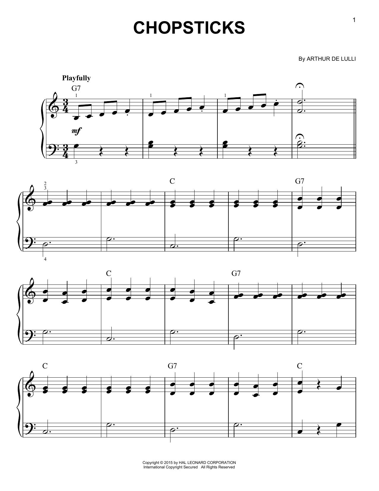 Partition piano Chopsticks de Arthur de Lulli - Piano Facile