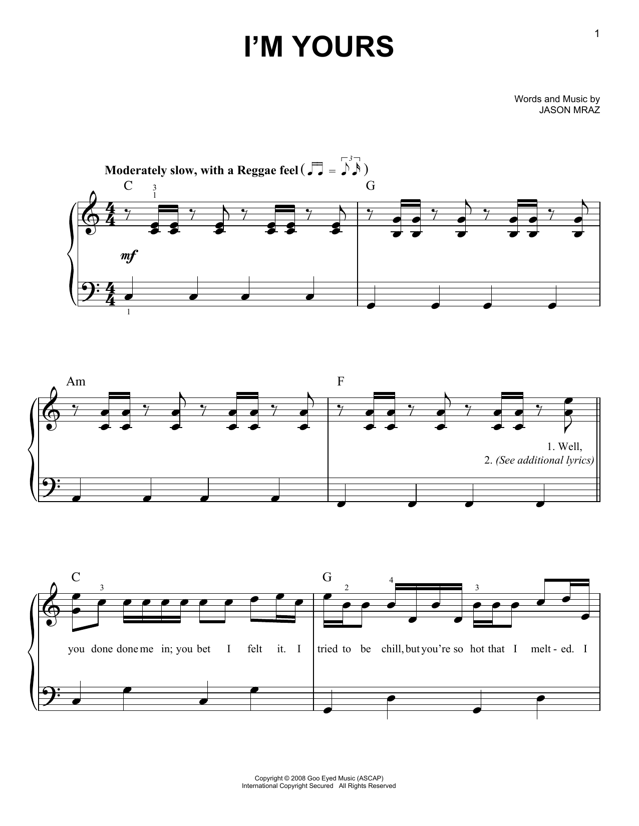 Partition piano I'm Yours de Jason Mraz - Piano Facile