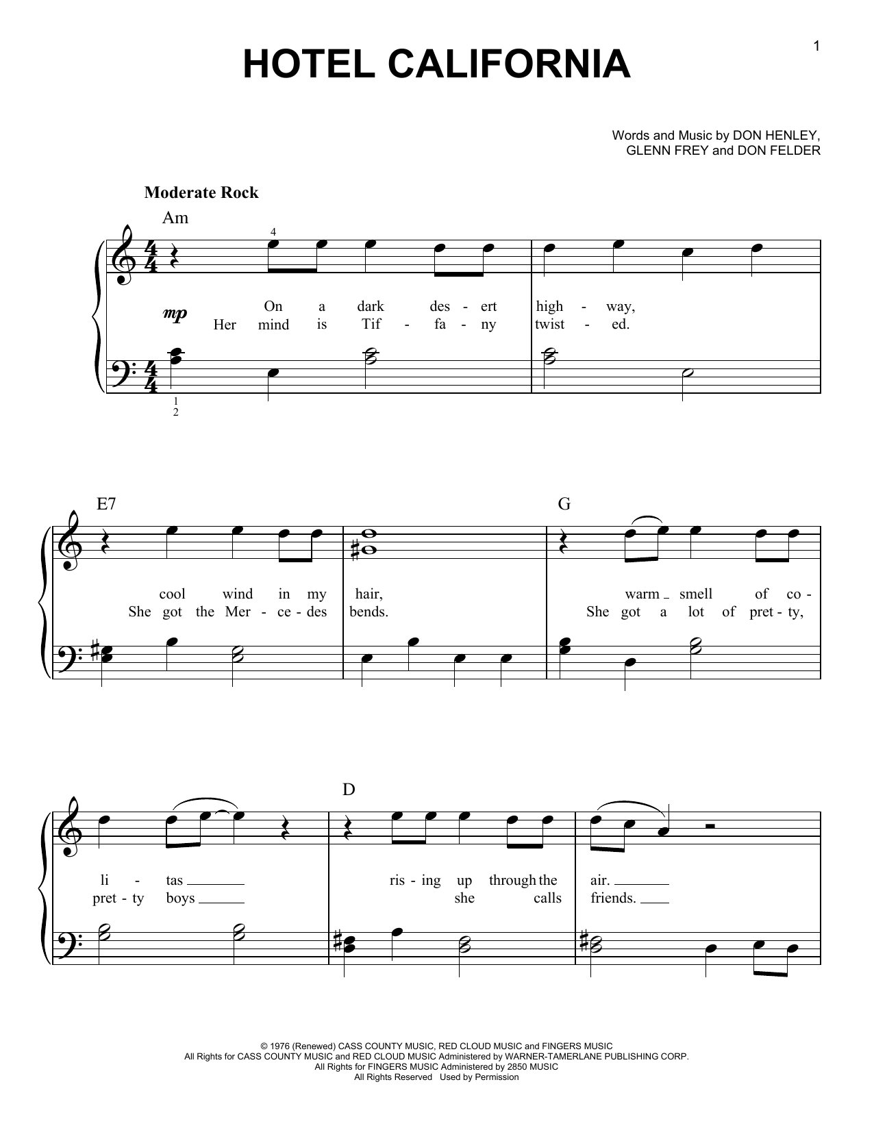 Hotel california sheet music direct for Hotel california