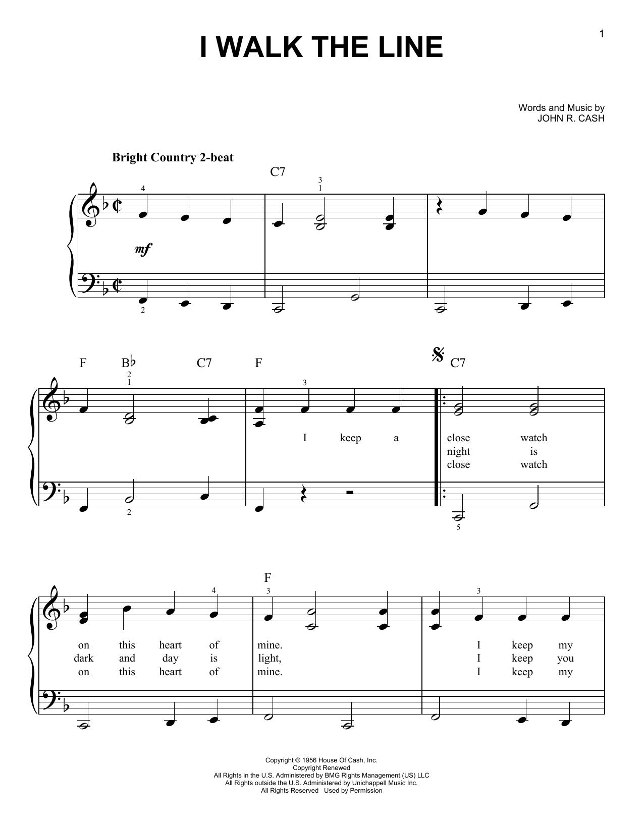 Partition piano I Walk The Line de Johnny Cash - Piano Facile