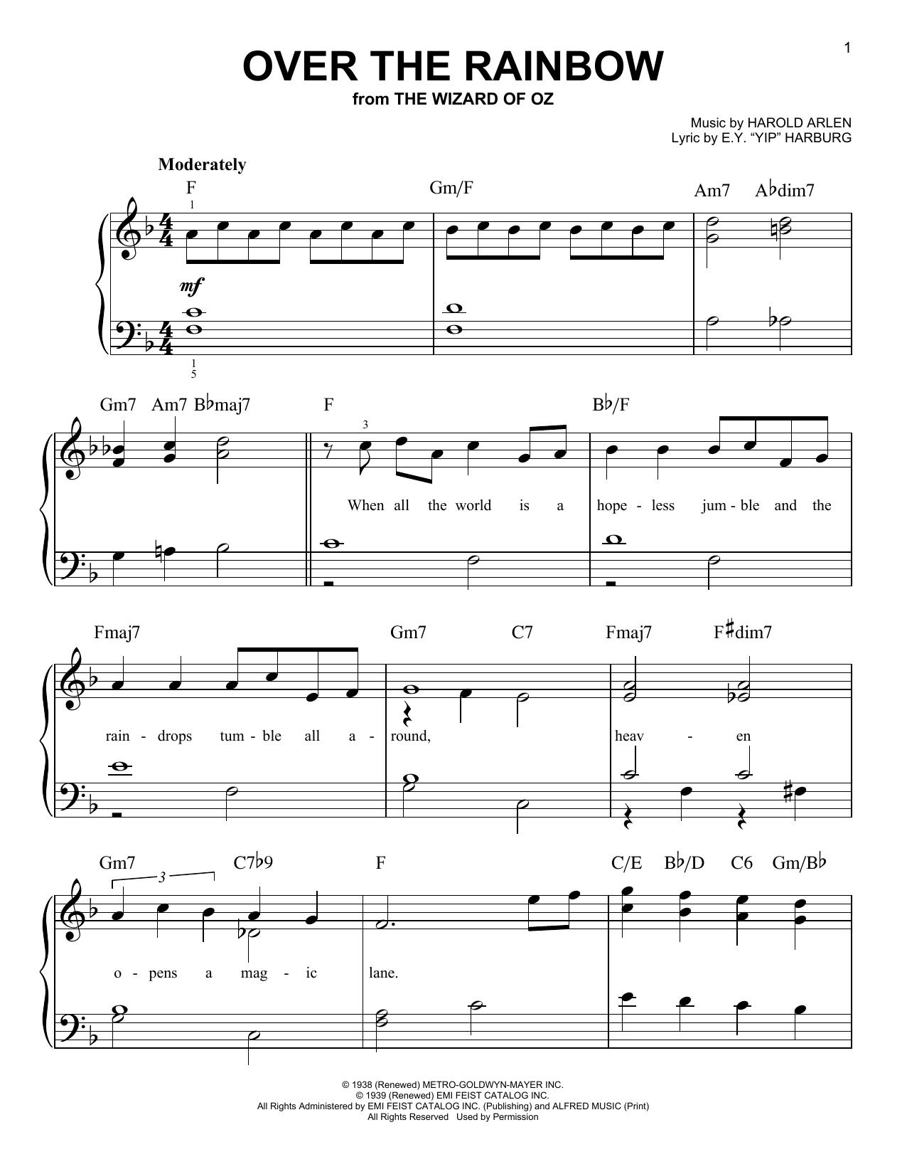 Partition piano Over The Rainbow de Harold Arlen - Piano Facile