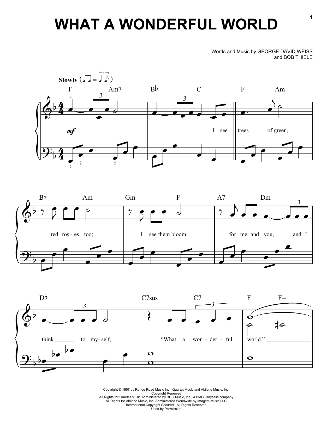 Partition piano What A Wonderful World de Louis Armstrong - Piano Facile