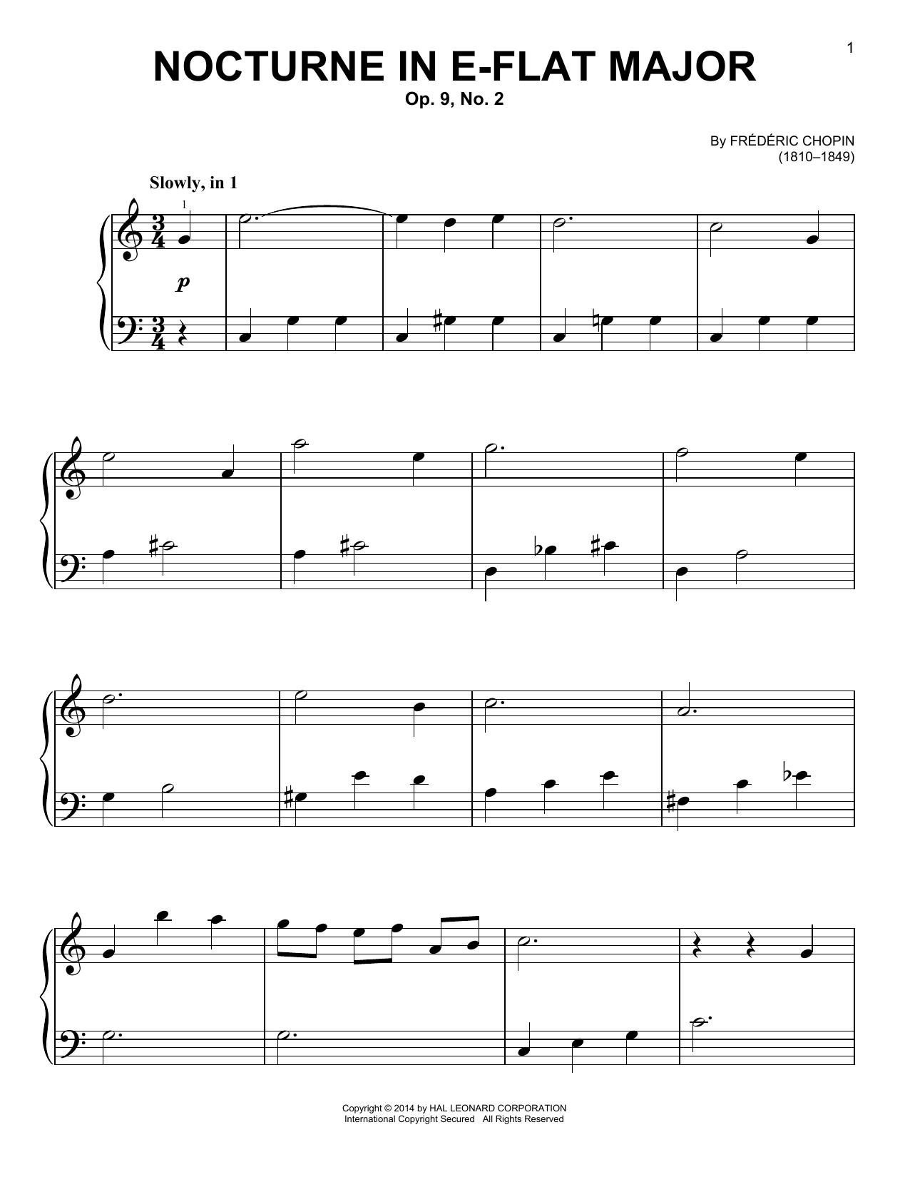 Partition piano Nocturne In E Flat Major Op.9 No.2 de Frederic Chopin - Piano Facile