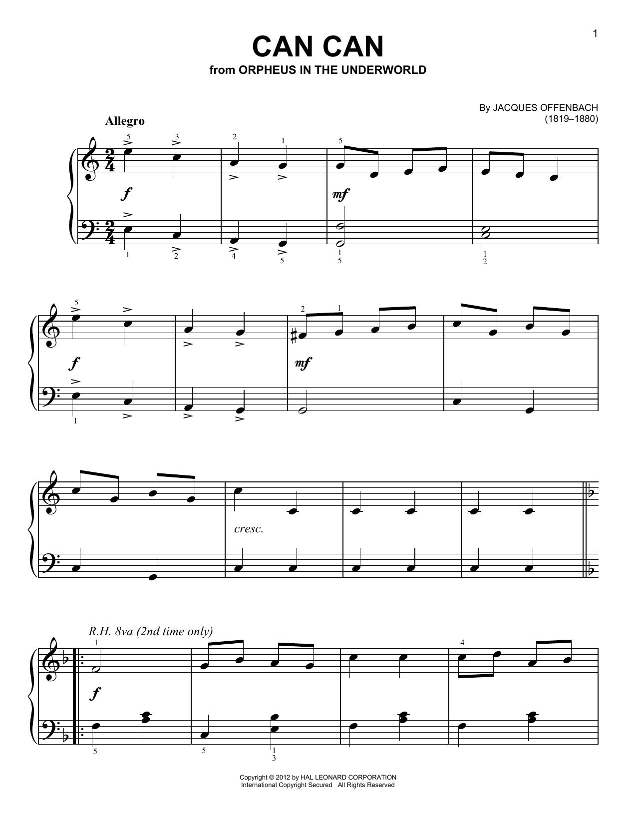 Partition piano Can Can de Jacques Offenbach - Piano Facile