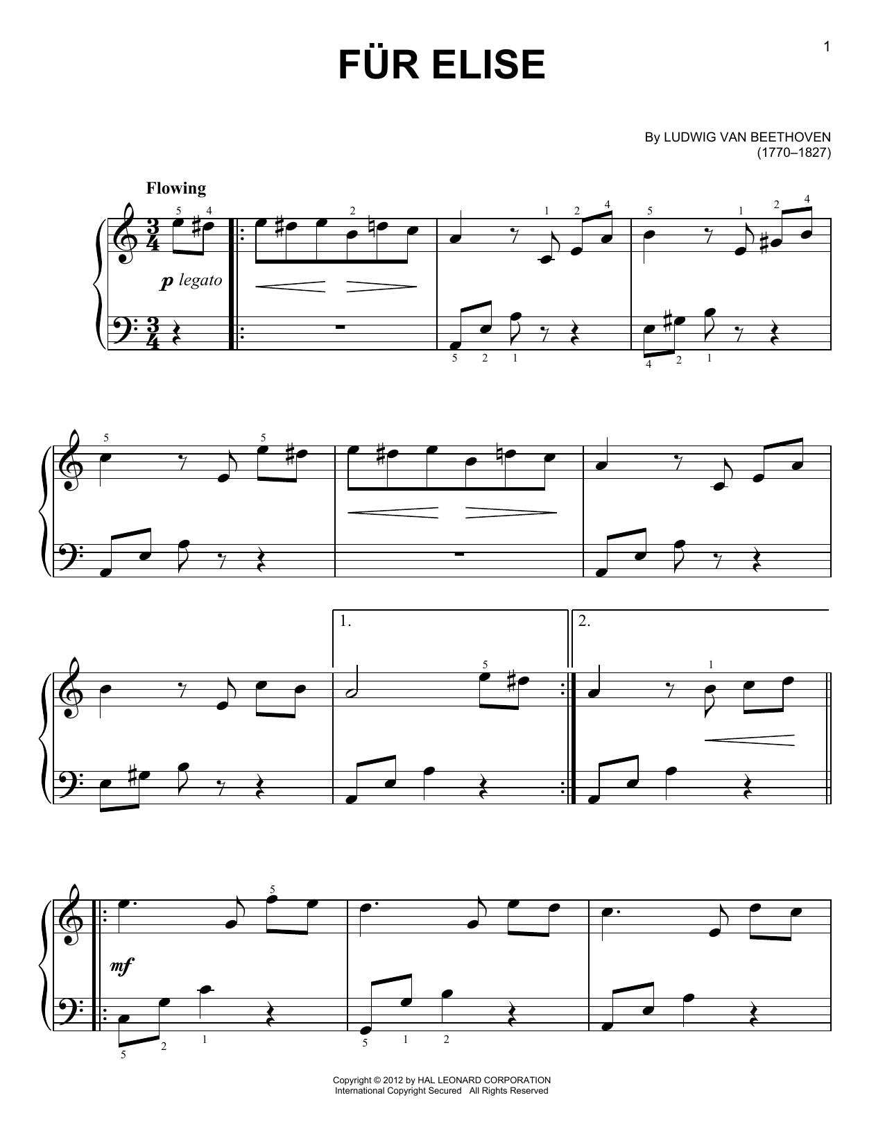Partition piano Fur Elise de Ludwig van Beethoven - Piano Facile