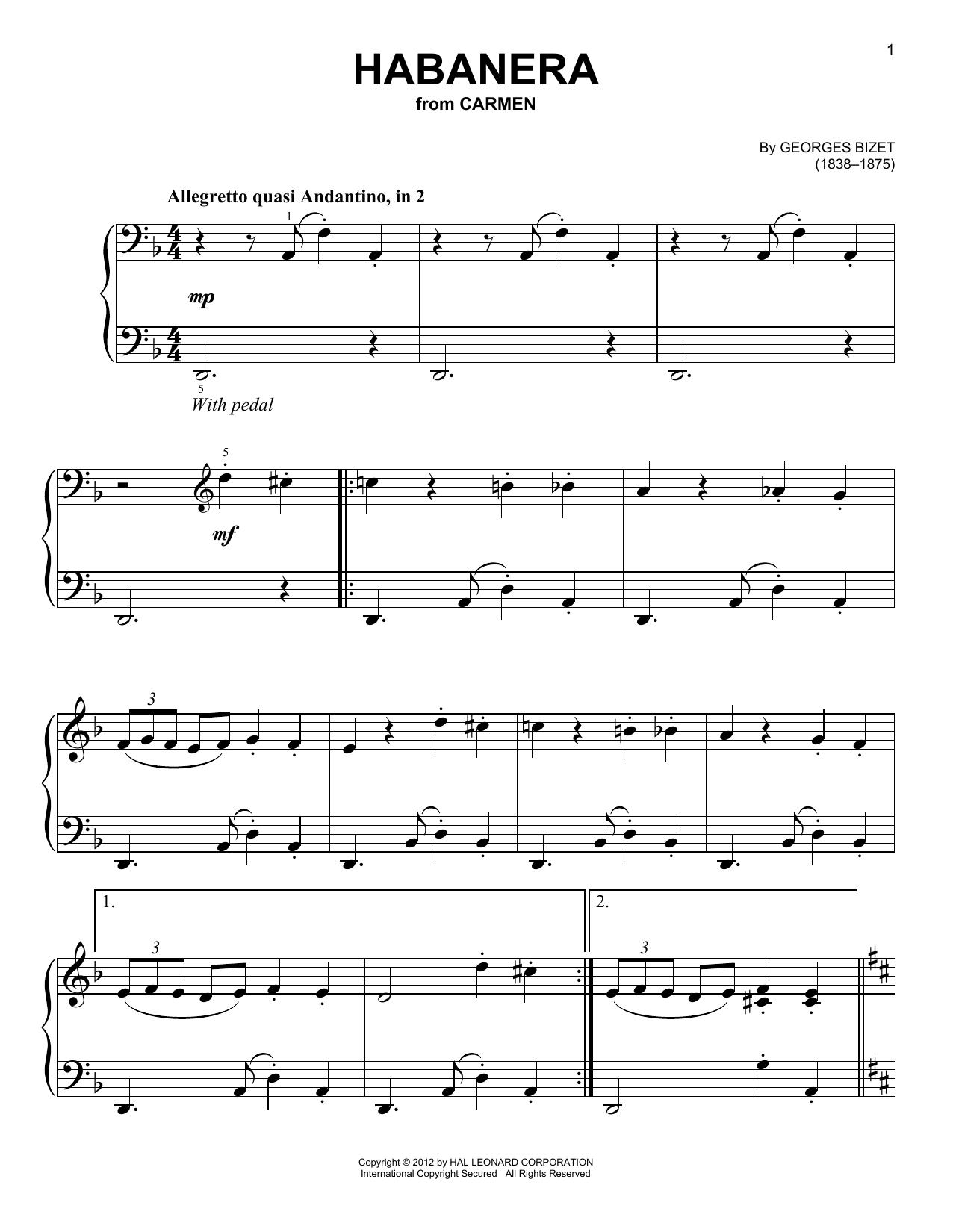 Partition piano Habanera de Georges Bizet - Piano Facile