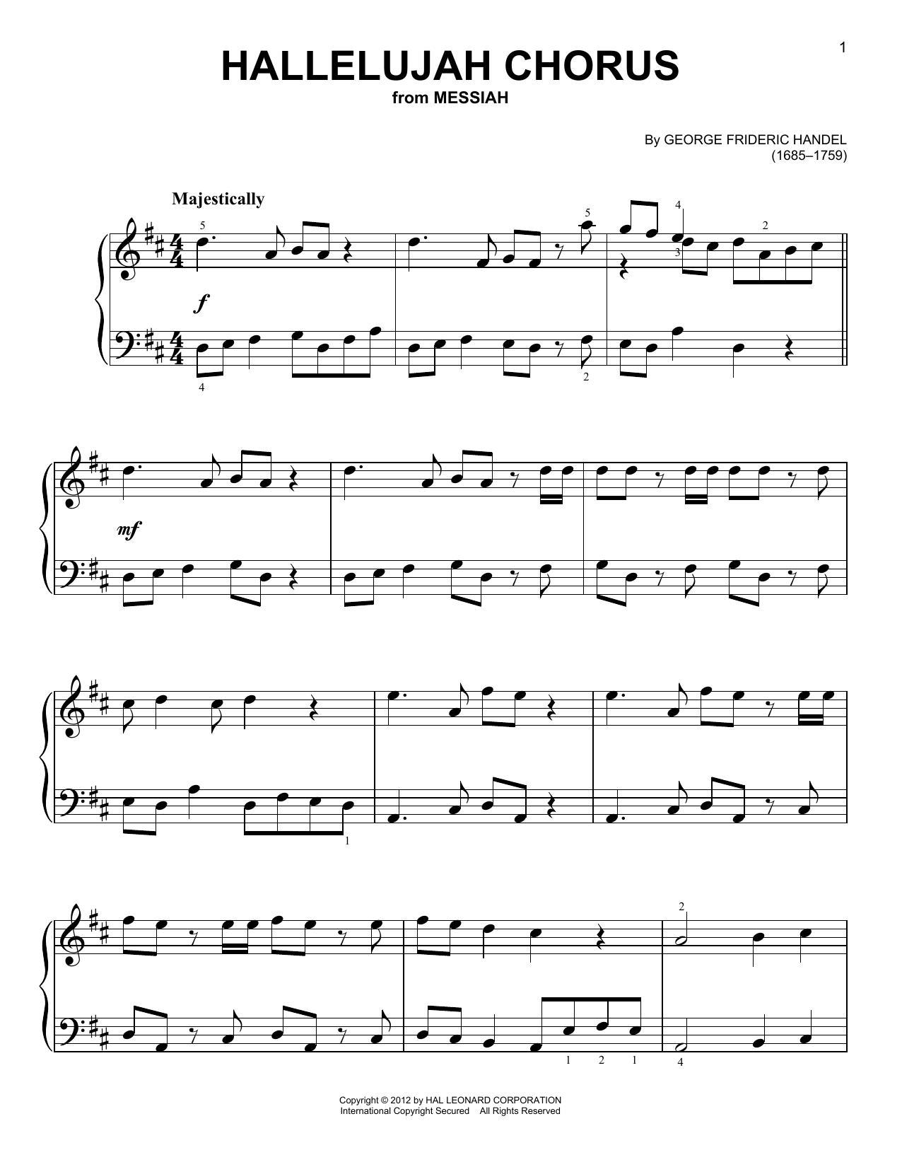 Partition piano Hallelujah Chorus de George Frideric Handel - Piano Facile