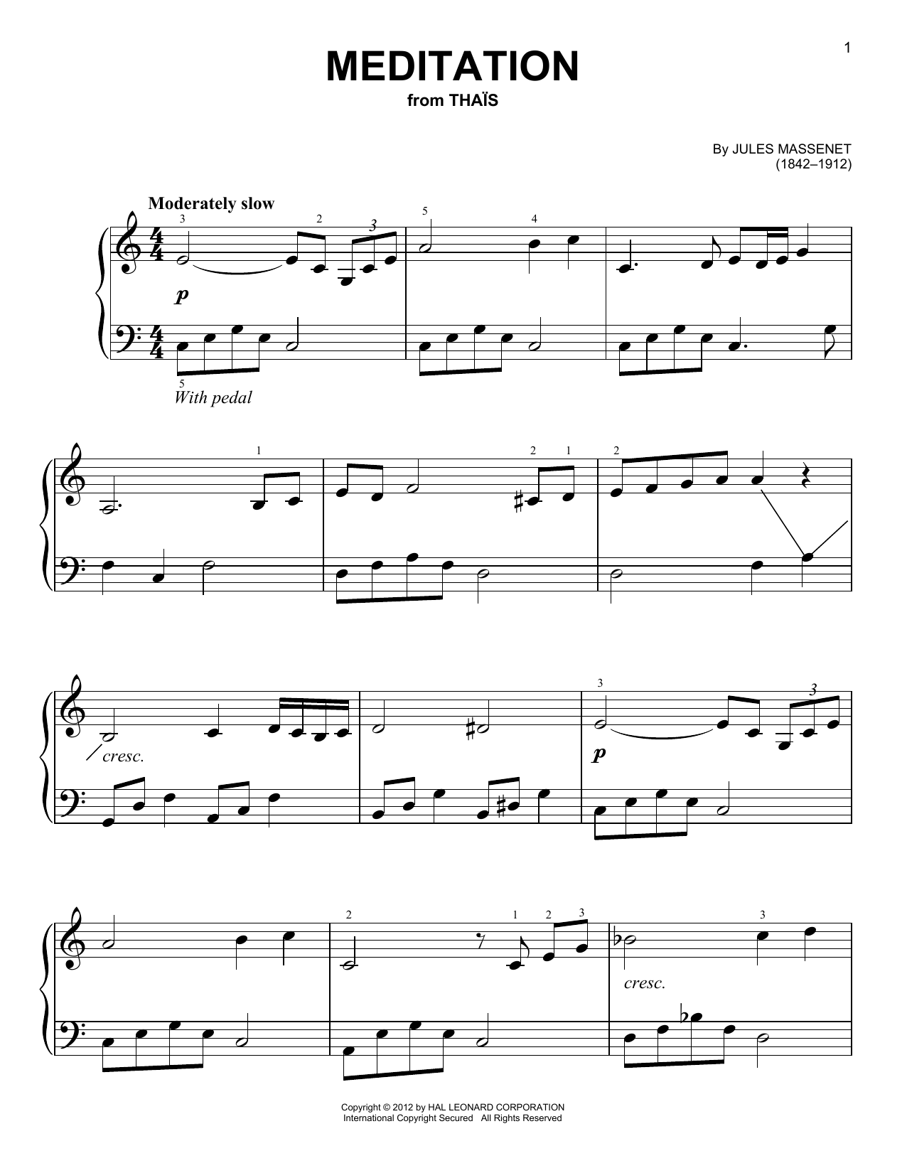 Partition piano Meditation de Jules Massenet - Piano Facile