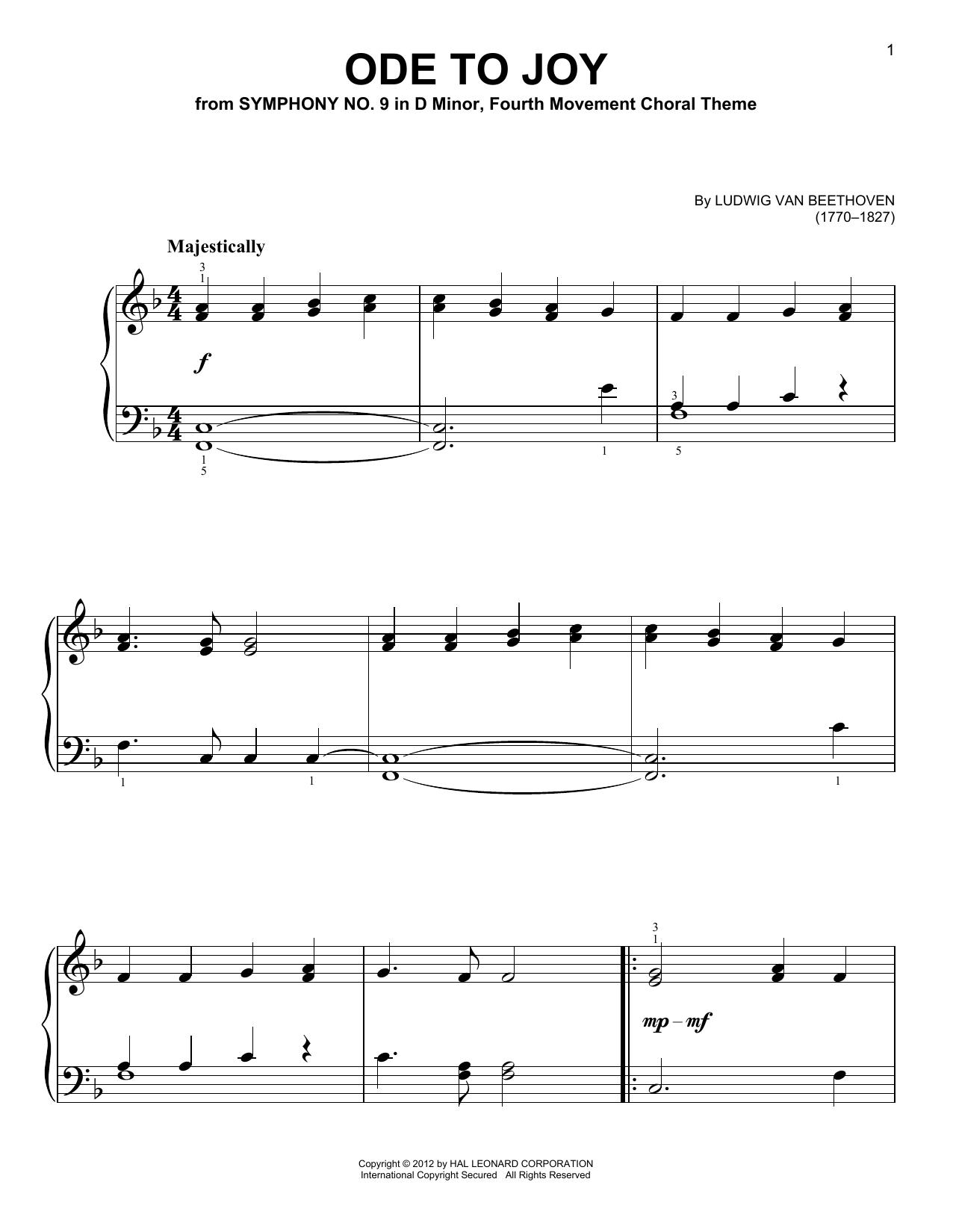 Partition piano Ode To Joy de Ludwig van Beethoven - Piano Facile
