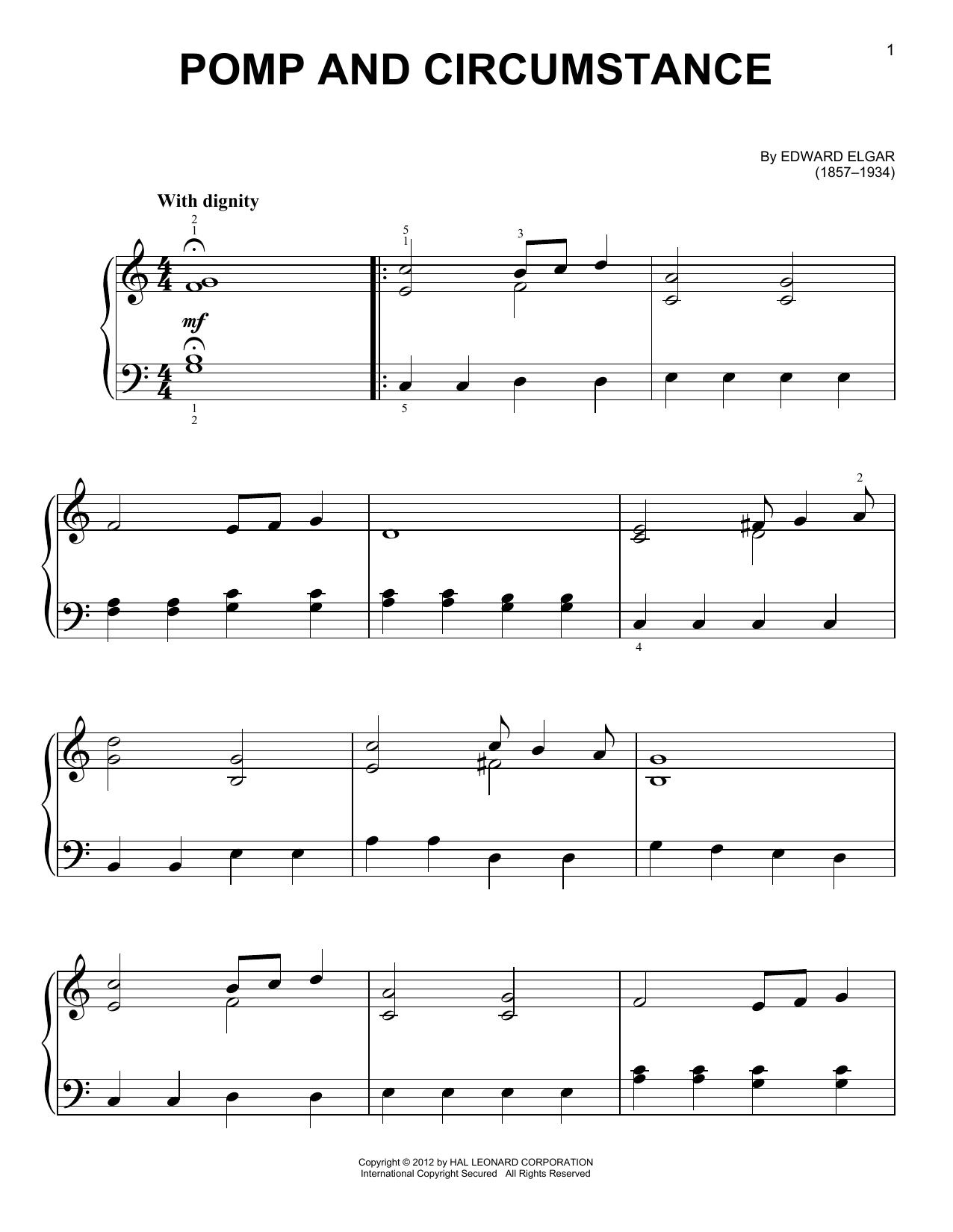 Partition piano Pomp And Circumstance de Edward Elgar - Piano Facile