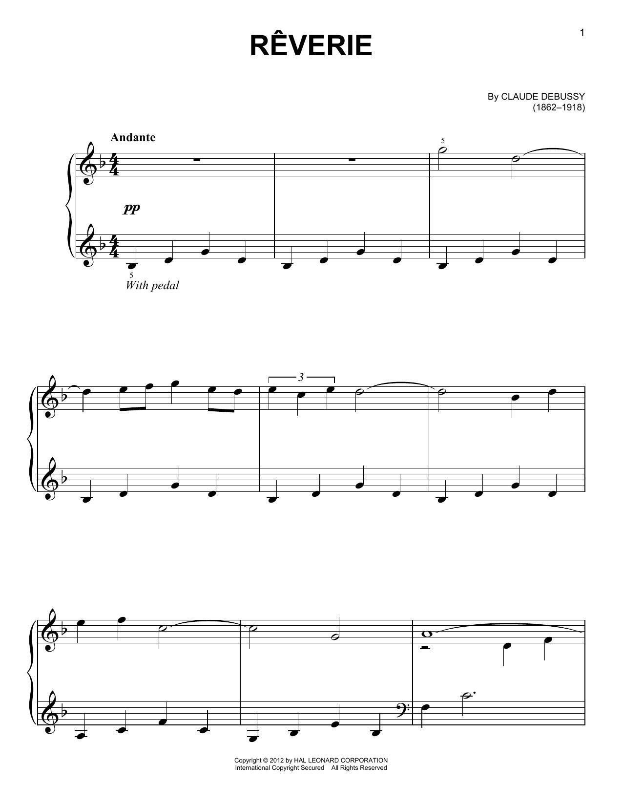 Partition piano Reverie de Claude Debussy - Piano Facile