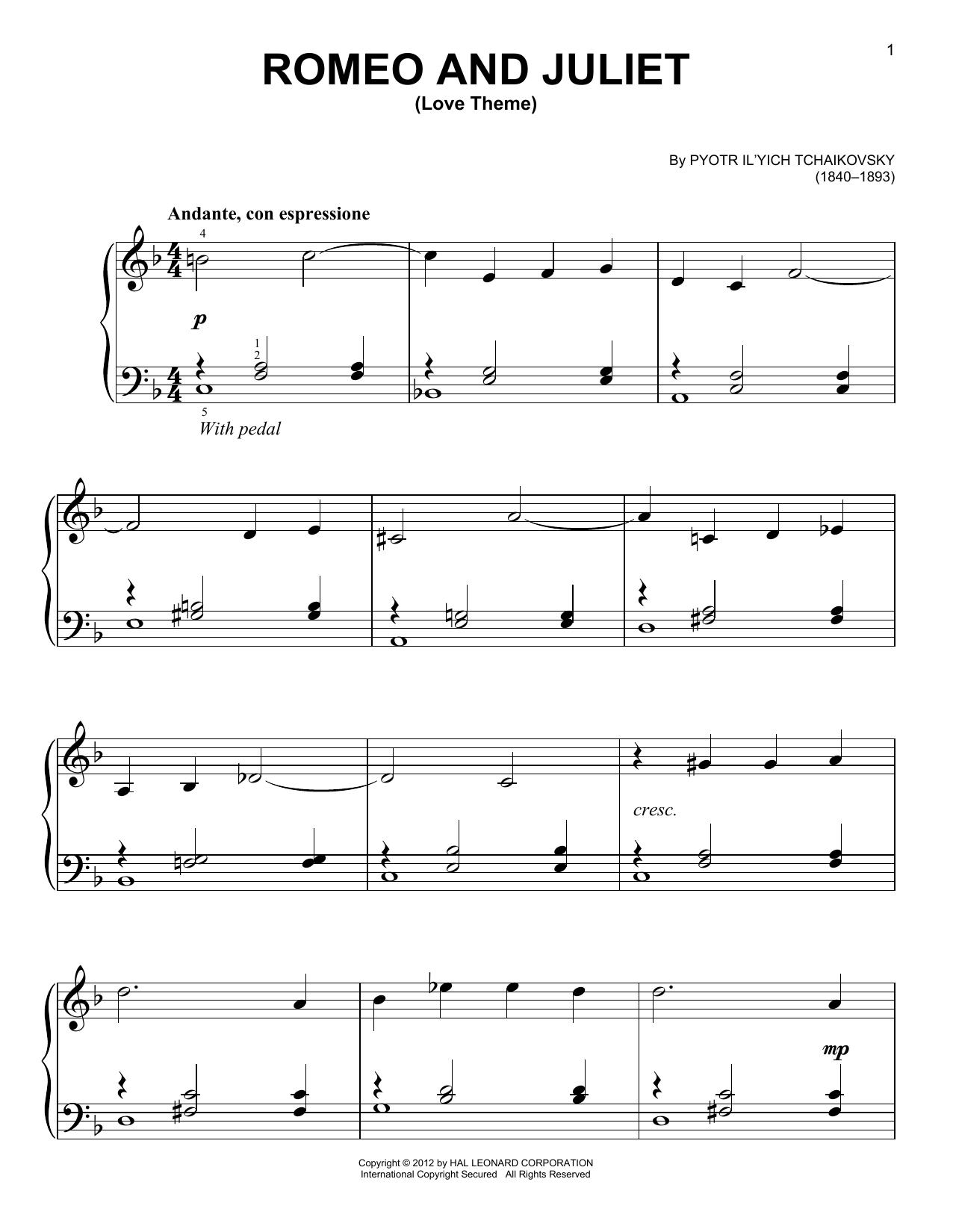 Partition piano Romeo And Juliet (Love Theme) de Pyotr Ilyich Tchaikovsky - Piano Facile