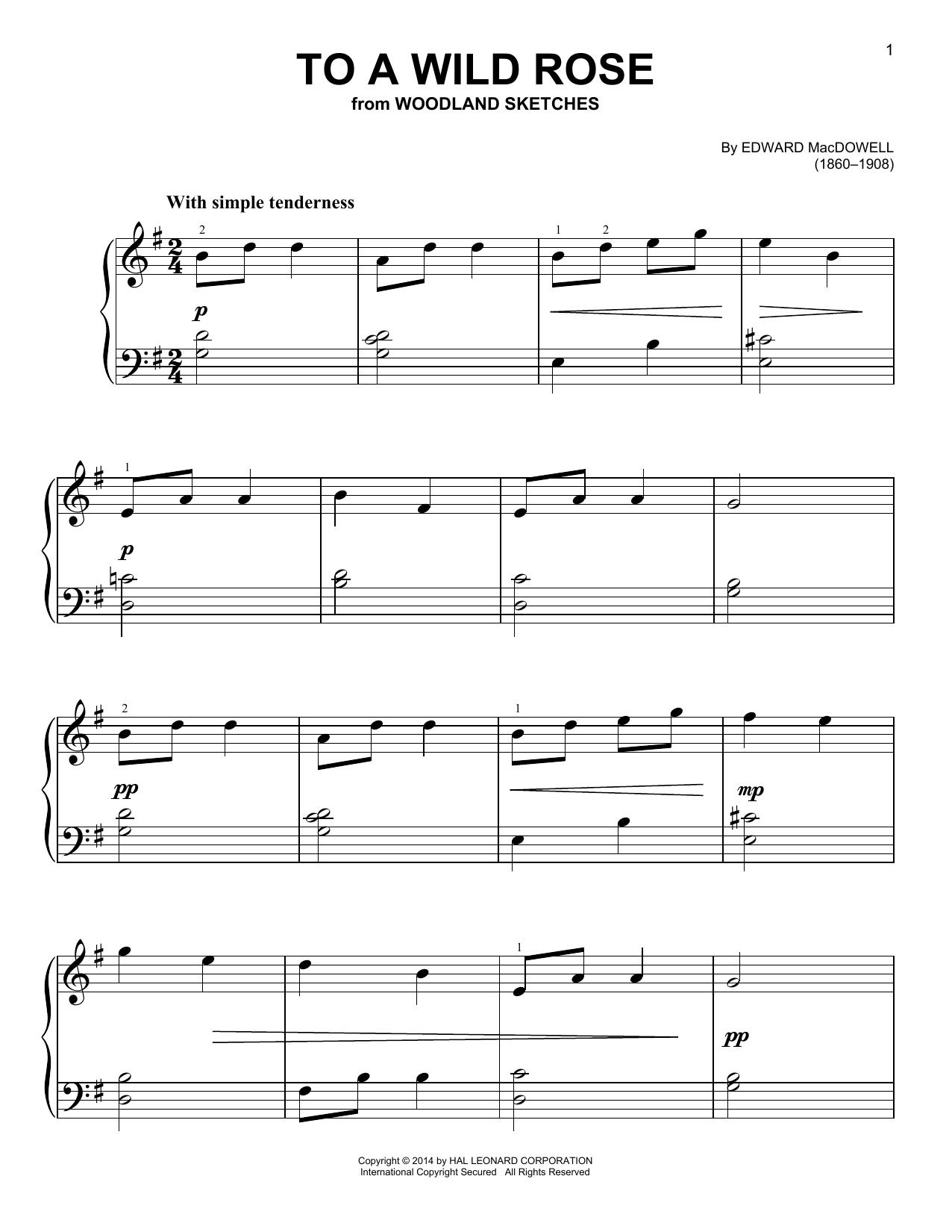 Partition piano To A Wild Rose de Edward MacDowell - Piano Facile