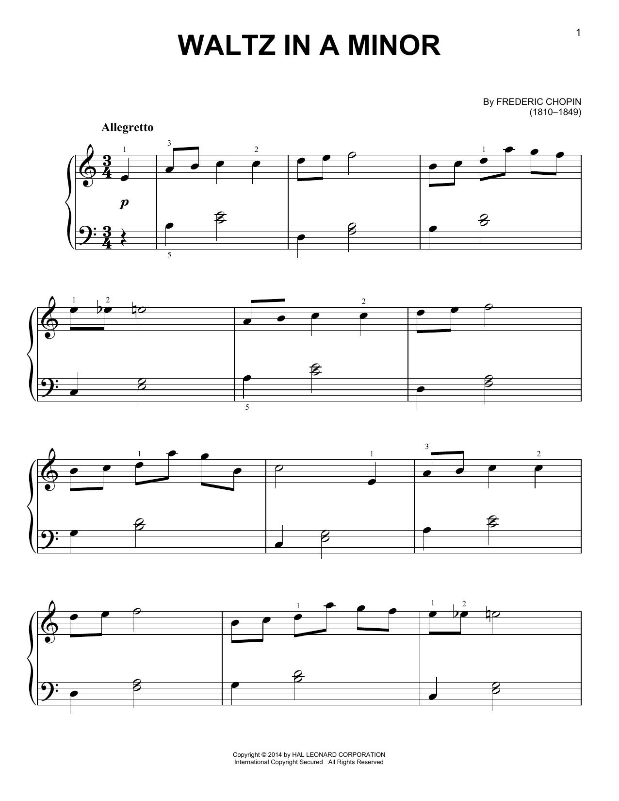 Partition piano Waltz In A Minor de Frederic Chopin - Piano Facile