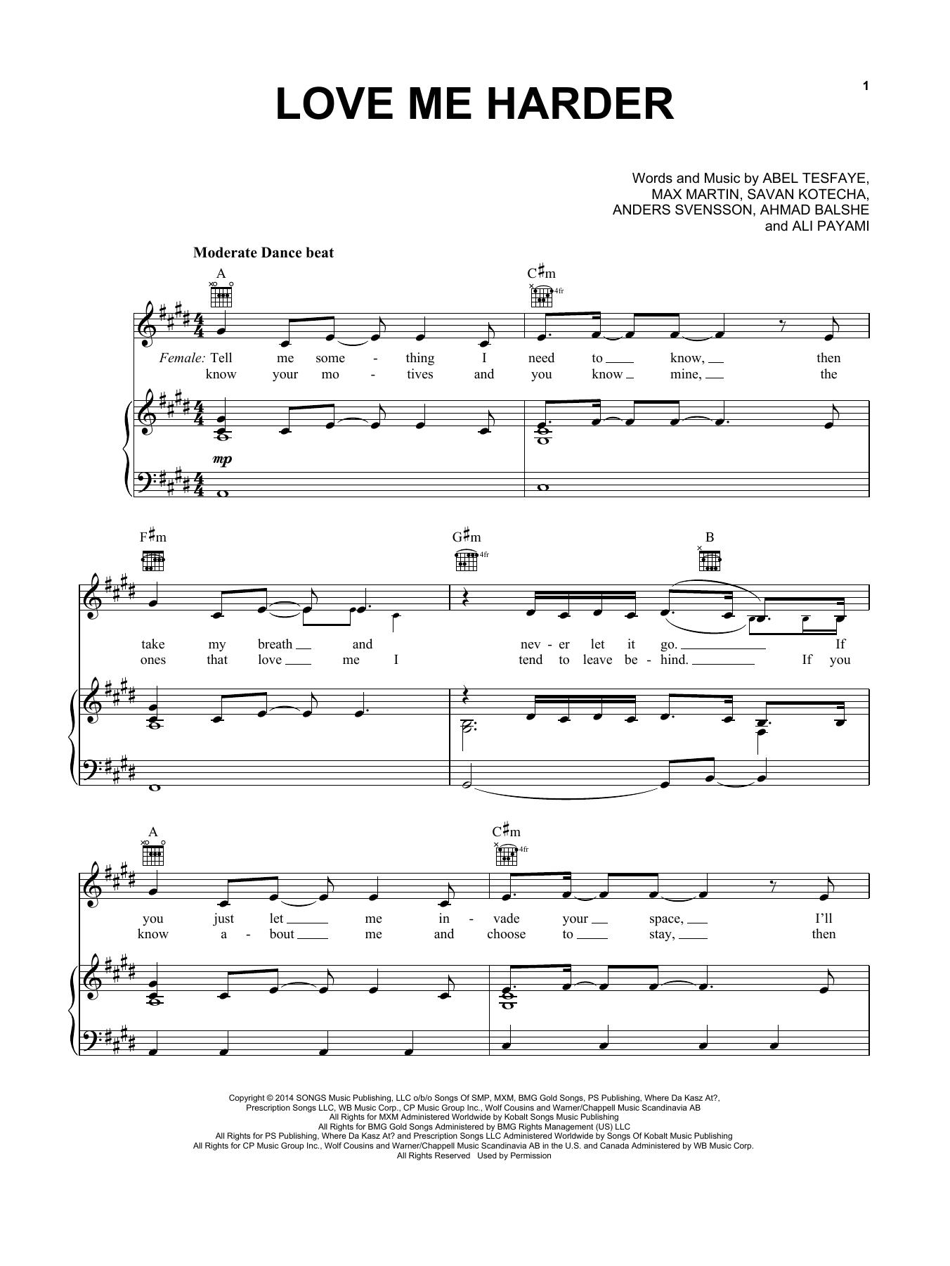 Partition piano Love Me Harder de Ariana Grande & The Weeknd - Piano Voix Guitare (Mélodie Main Droite)