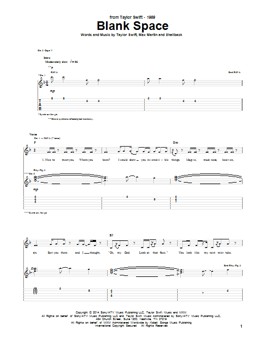 Tablature guitare Blank Space de Taylor Swift - Tablature Guitare