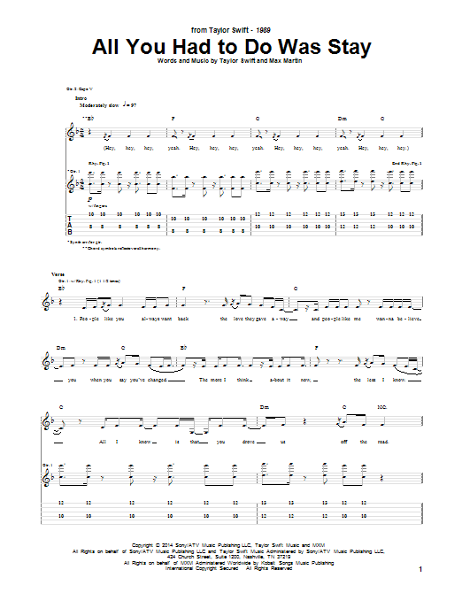 Tablature guitare All You Had To Do Was Stay de Taylor Swift - Tablature Guitare