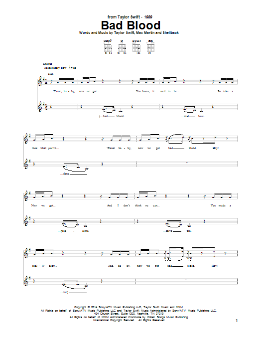 Tablature guitare Bad Blood de Taylor Swift - Tablature Guitare