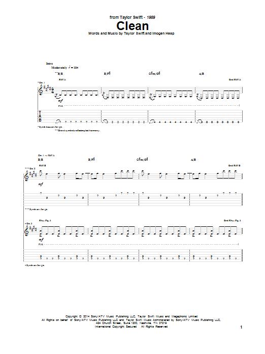 Tablature guitare Clean de Taylor Swift - Tablature Guitare
