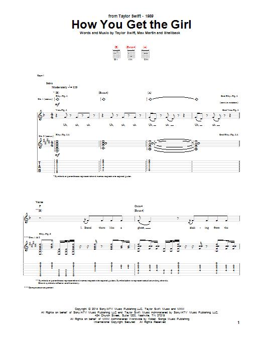 Tablature guitare How You Get The Girl de Taylor Swift - Tablature Guitare