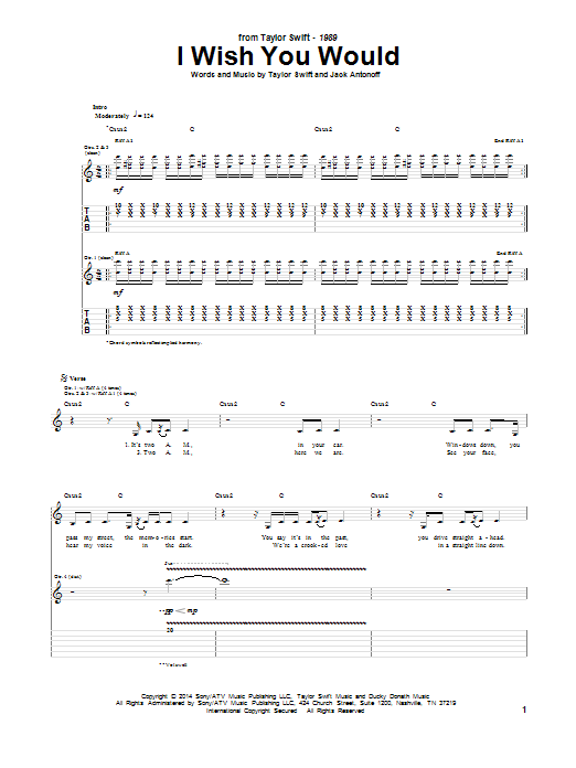 Tablature guitare I Wish You Would de Taylor Swift - Tablature Guitare