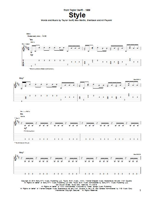 Tablature guitare Style de Taylor Swift - Tablature Guitare