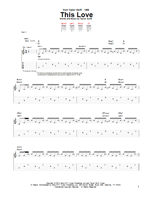 Tablature guitare This Love de Taylor Swift - Tablature Guitare