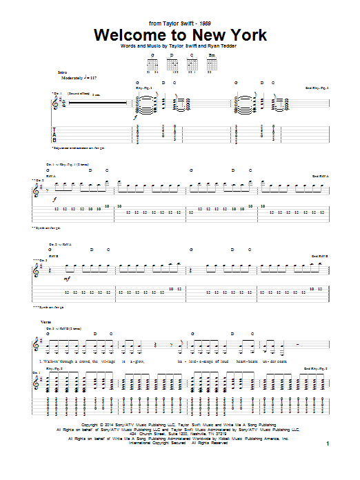 Tablature guitare Welcome To New York de Taylor Swift - Tablature Guitare